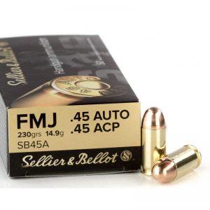 .45 ACP FMJ van Sellier & Bellot. 230grs Handgun Ammunition.